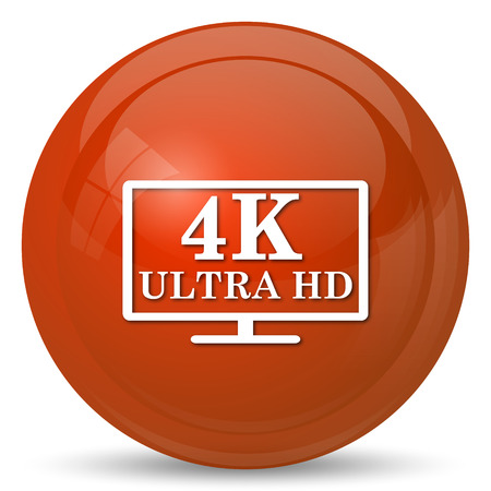 hd: 4K ultra HD icon. Internet button on white background.