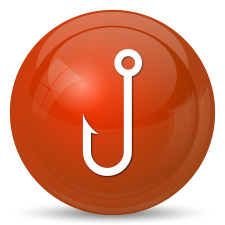 entice: Fish hook icon. Internet button on white background.