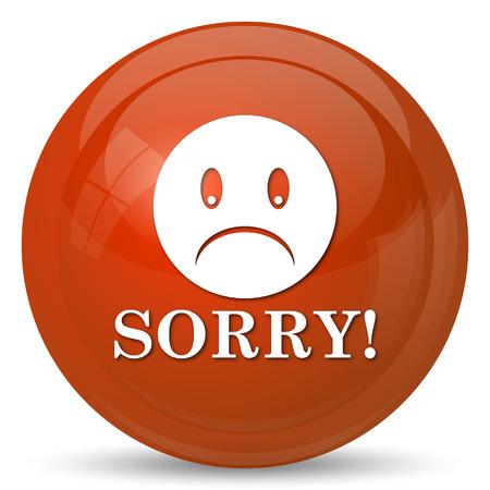 apologize: Sorry icon. Internet button on white background. Stock Photo