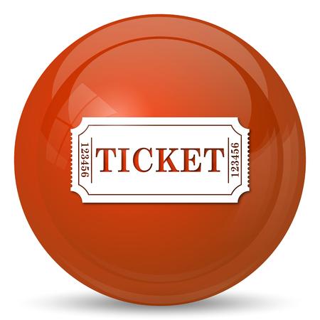 releasing: Cinema ticket icon. Internet button on white background. Stock Photo
