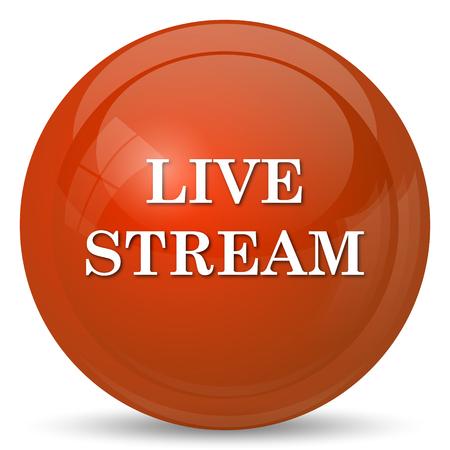 stream: Live stream icon. Internet button on white background. Stock Photo