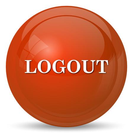 logout: Logout icon. Internet button on white background. Stock Photo