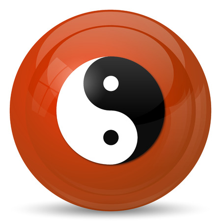 ying and yang: Ying yang icon. Internet button on white background. Stock Photo
