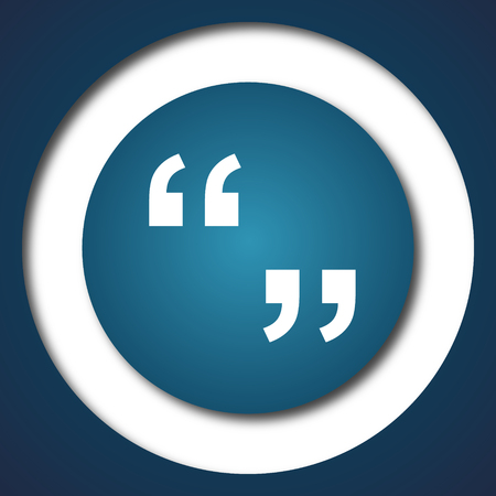 marks: Quotation marks icon. Internet button on white background.