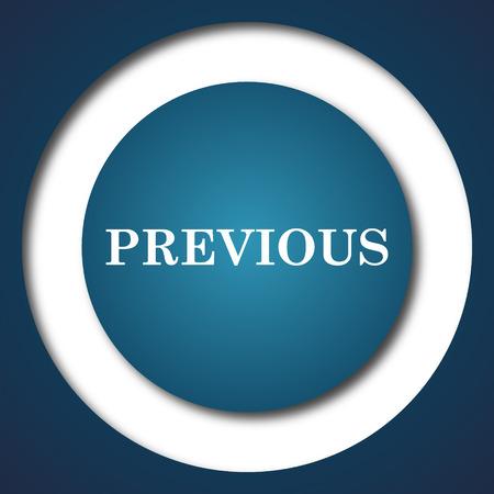 previous: Previous icon. Internet button on white background. Stock Photo