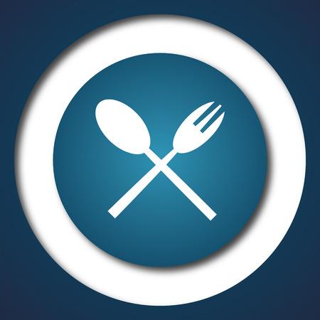 blue white kitchen: Fork and spoon icon. Internet button on white background.