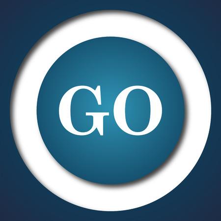 proceed: GO icon. Internet button on white background. Stock Photo