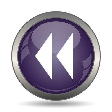 mauve: Rewind icon. Internet button on white background. Stock Photo