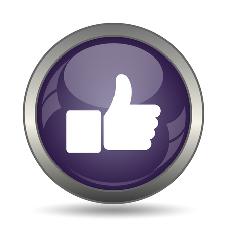 approval button: Thumb up icon. Internet button on white background.