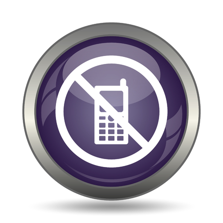 phone ban: Mobile phone restricted icon. Internet button on white background.