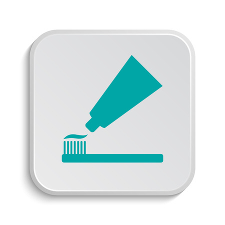 cyan business: Tooth paste and brush icon. Internet button on white background.