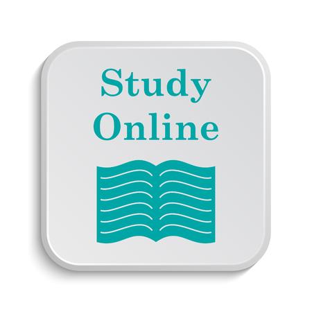 study icon: Study online icon. Internet button on white background.