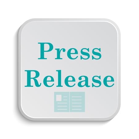 cyan business: Press release icon. Internet button on white background. Stock Photo