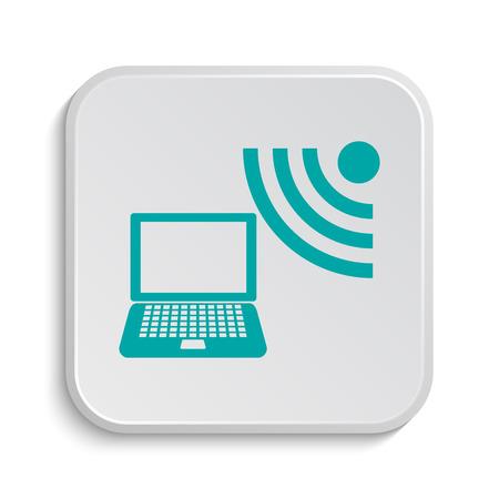 wireless: Wireless laptop icon. Internet button on white background. Stock Photo