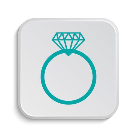 diamond background: Diamond ring icon. Internet button on white background.