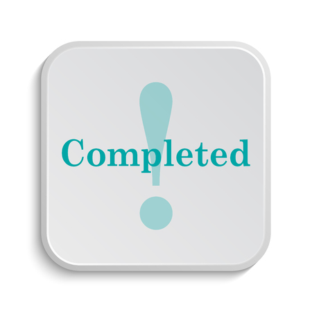 completed: Completed icon. Internet button on white background.