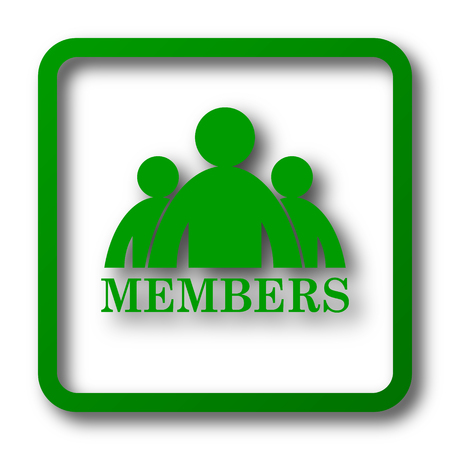join here: Members icon. Internet button on white background. Stock Photo