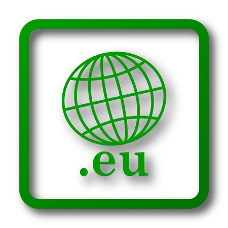 eu: .eu icon. Internet button on white background.