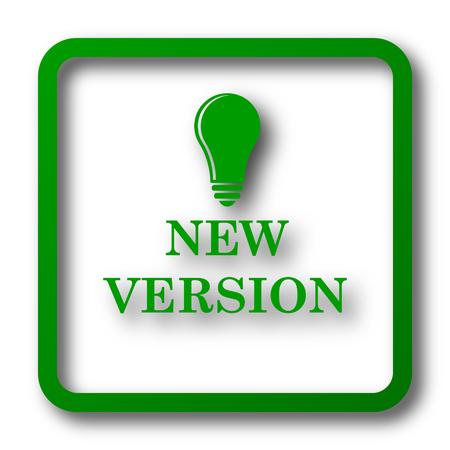 Nuevo icono de versión. Botón de internet sobre fondo blanco. Foto de archivo - 58685260