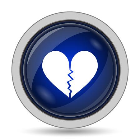 delusion: Broken heart icon. Internet button on white background. Stock Photo
