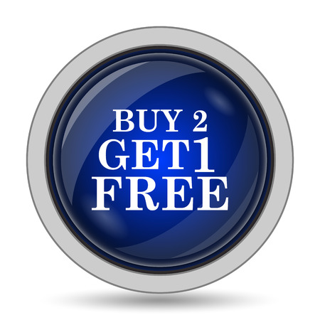 free offer: Buy 2 get 1 free offer icon. Internet button on white background. Stock Photo