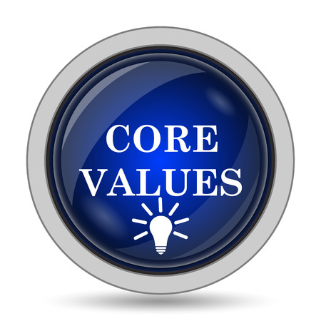 core strategy: Core values icon. Internet button on white background.