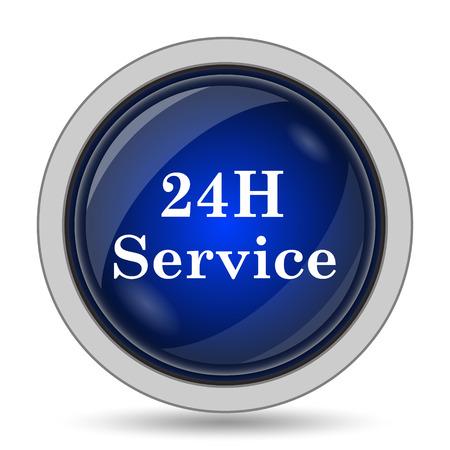 twenty four hour: 24H Service icon. Internet button on white background.