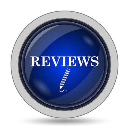 authenticate: Reviews icon. Internet button on white background. Stock Photo