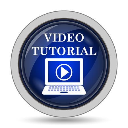 tutorial: Video tutorial icon. Internet button on white background. Stock Photo