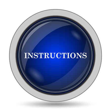 instrucciones: Instructions icon. Internet button on white background.