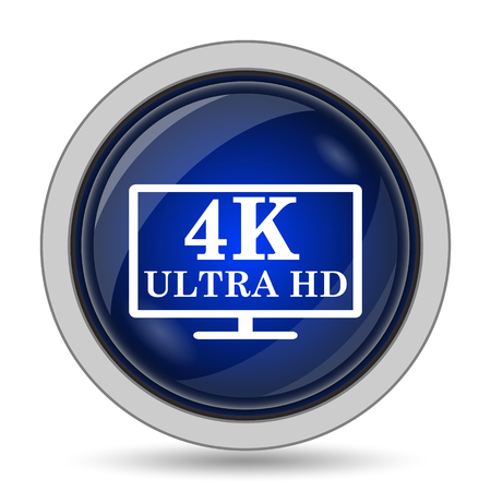 blue widescreen widescreen: 4K ultra HD icon. Internet button on white background.