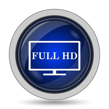 blue widescreen widescreen: Full HD icon. Internet button on white background.