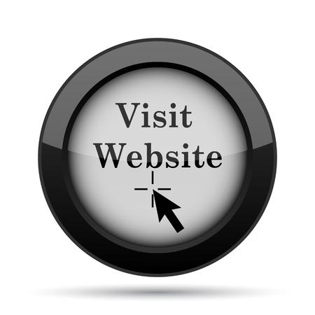 black button: Visit website icon. Internet button on white background. Stock Photo
