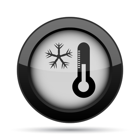 snow drift: Snowflake with thermometer icon. Internet button on white background.