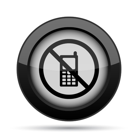 restricted icon: Mobile phone restricted icon. Internet button on white background.