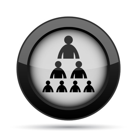 organizational: Organizational chart with people icon. Internet button on white background.