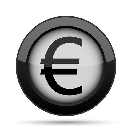black button: Euro icon. Internet button on white background.