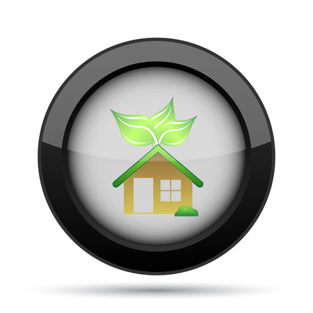 residences: Eco house icon. Internet button on white background. Stock Photo