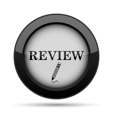 review: Review icon. Internet button on white background.