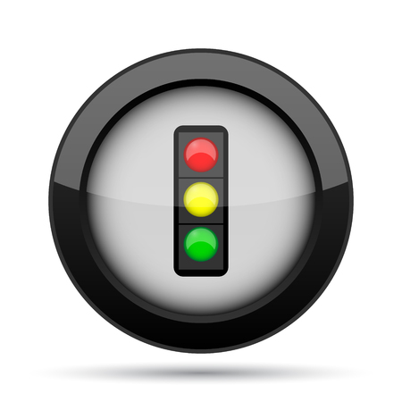 regulate: Traffic light icon. Internet button on white background. Stock Photo