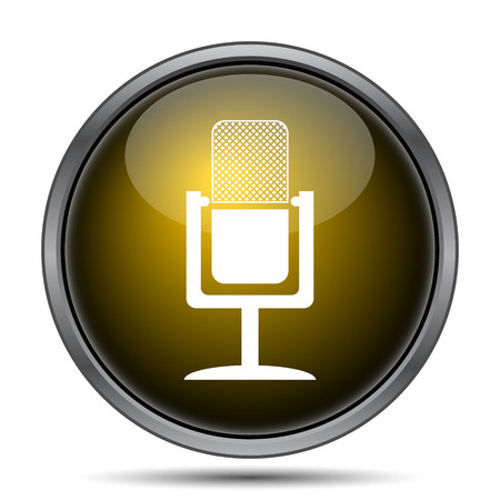 gold record: Microphone icon. Internet button on white background.