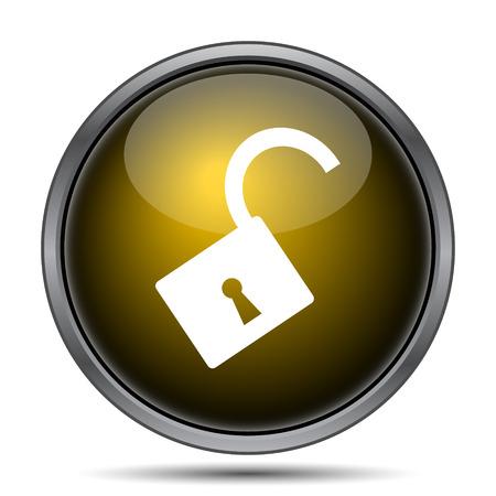 Aprire icona del lucchetto. internet pulsante su sfondo bianco.