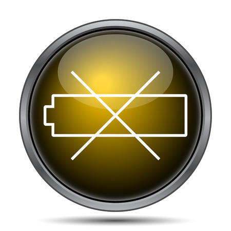 button batteries: Empty battery icon. Internet button on white background.