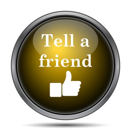 Recomendar a un amigo icono. Botón de internet sobre fondo blanco. Foto de archivo