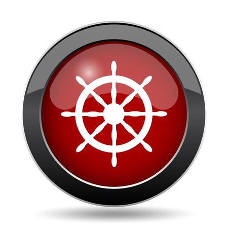 航海ホイール アイコン。白い背景の上のインター ネット ボタン。 写真素材