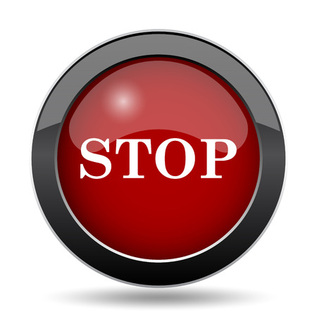 running off: Stop icon. Internet button on white background.