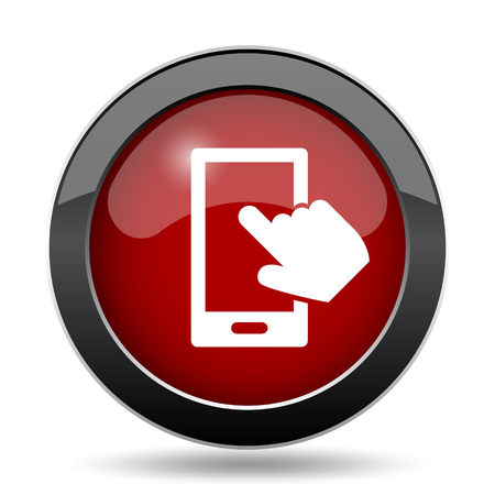 smartphone hand: Smartphone with hand icon. Internet button on white background.