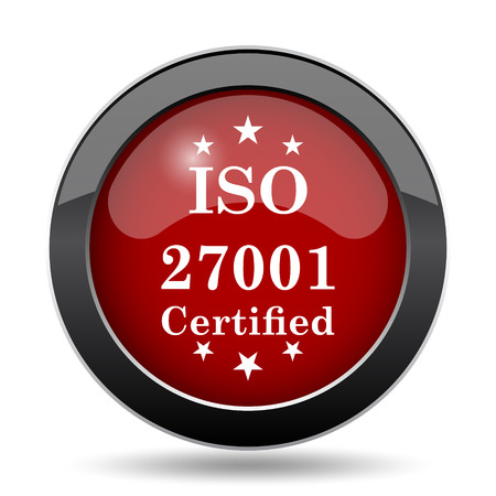 certify: ISO 27001 icon. Internet button on white background.
