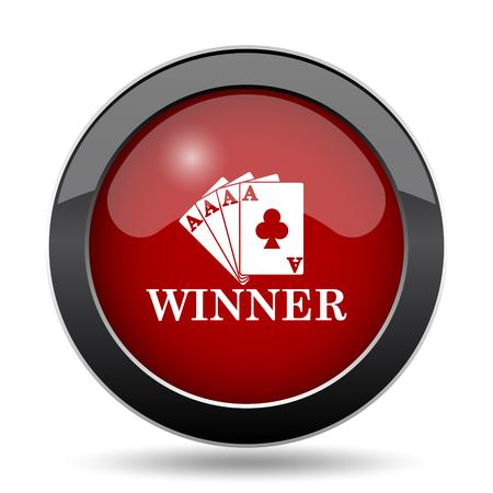 risks button: Poker winner icon. Internet button on white background.
