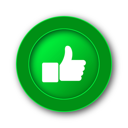 green button: Thumb up icon. Internet button on white background.